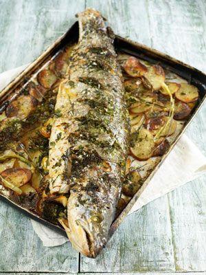 Salmon: Whole roasted salmon stuffed with lemon & herbs