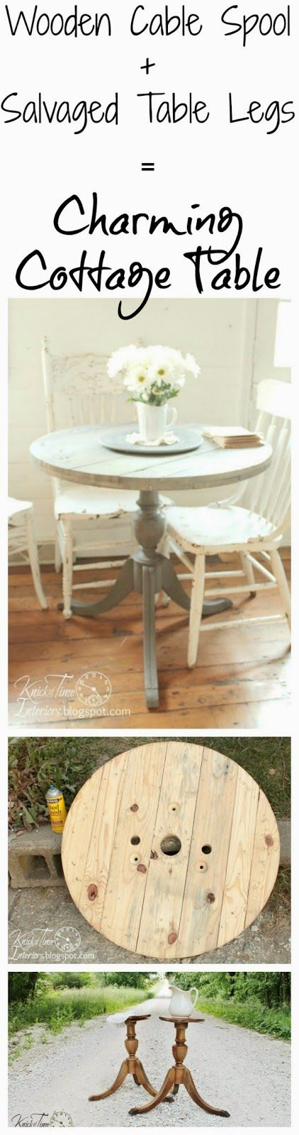 DIY Cottage Table from Wooden Cable Spool  Repurposed Legs via Knick of Time @ knickoftimeinteriors.blogspot.com