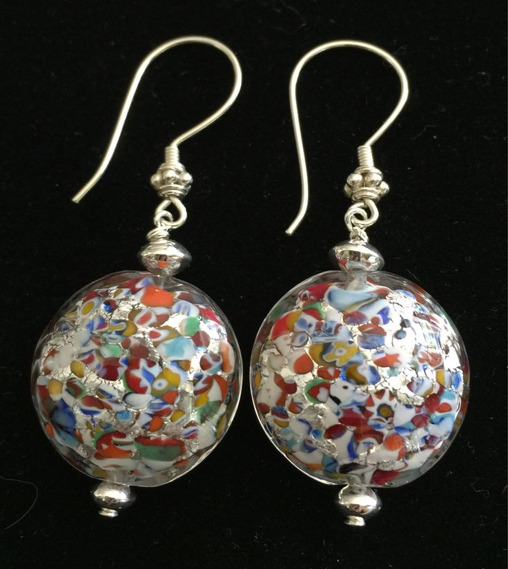Large, shiny Klimt Murano Glass dangle earrings with Sterling Silver findings by MuranoBling on Etsy https://www.etsy.com/au/listing/535358512/large-shiny-klimt-murano-glass-dangle