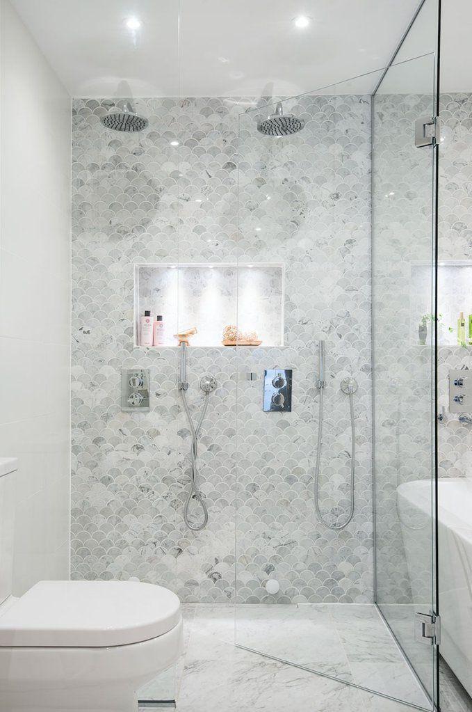 Carrara Marble Fish Scale Honed Mosaic 310x305 Tiles Republic Bathroom Interior Bathroom Interior Design Carrara Marble Bathroom