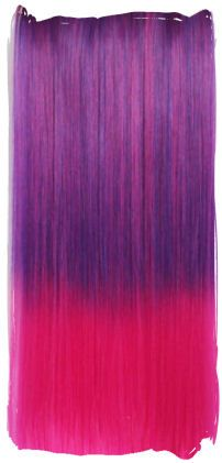 Clip in hair extension strook / Ombre hot paars - roze / 60 cm