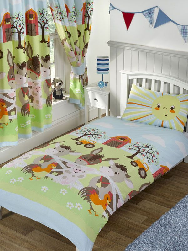Sunshine Farm Design Available In Junior Single And Double Duvet Covers Plus Matching Curtains Toddler