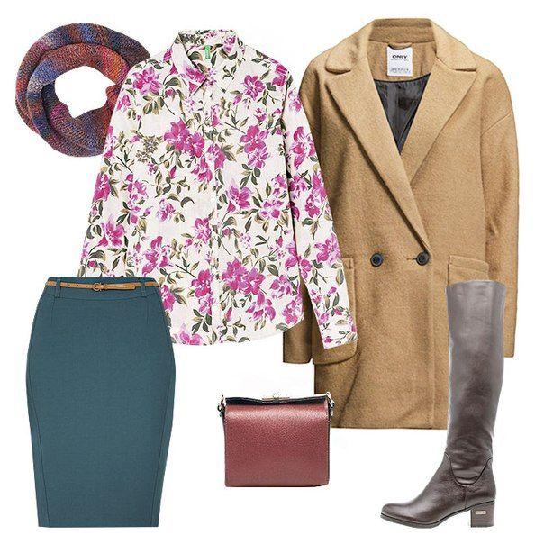 Блузка с цветами, красная сумка, коричневые сапоги