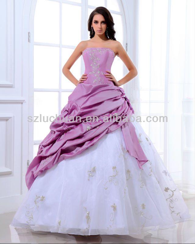 Elegant Off Shoulder Purple And White Wedding Dresses