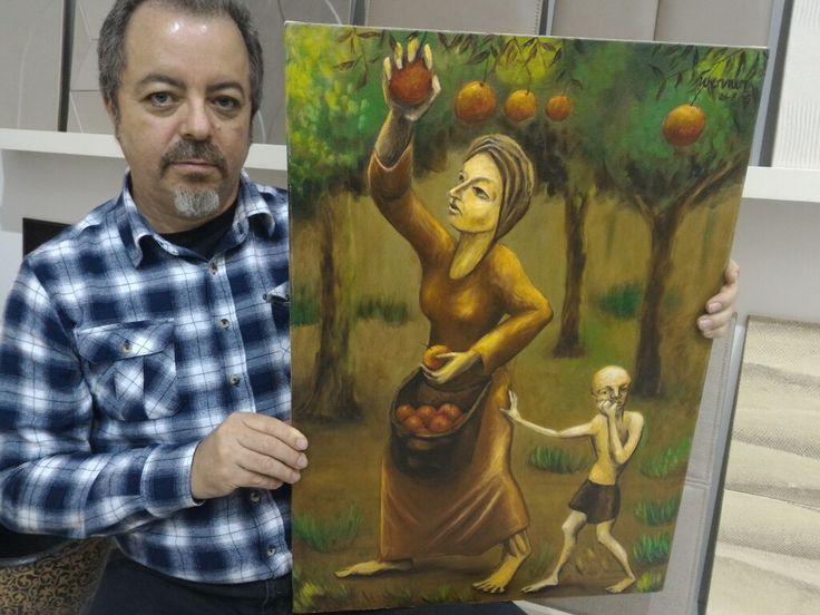 """""""Colhendo laranjas"""", pintura à óleo, 50x70 cm, 2005"""