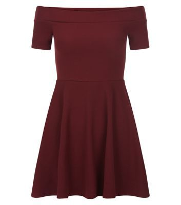 Teens. This burgundy bardot skater dress looks cool paired with plimsolls or sandals for a diverse wear.- Fit and flare style- Off the shoulder style- Cinched waist- Mini length