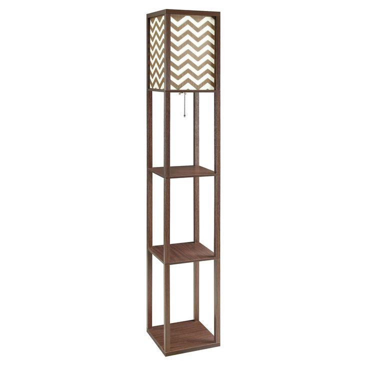 Coaster Company Brown Wood Floor Lamp with Chevron Shade and Three Shelves (Brown Floor Lamp)