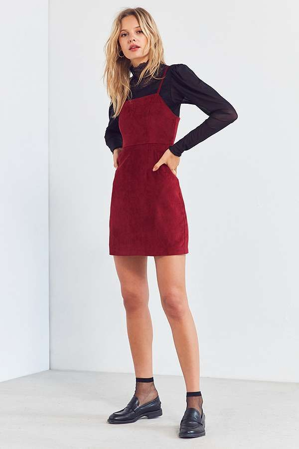 d7f03db923 Slide View  3  Urban Outfitters Red Corduroy Straight-Neck Mini Dress