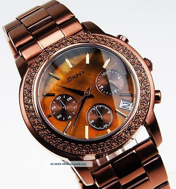 Dkny Ny8539 Chrono Watch Mother Of Pearl Stones Copper Brown Steel  photo