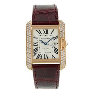 Cartier Tank Anglaise WT100016 18K Rose Gold & Diamonds Automatic Men's Watch