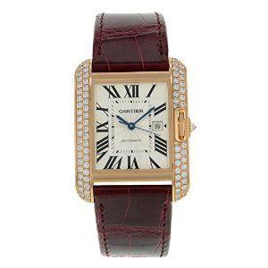 Cartier Tank Anglaise WT100016 18K Rose Gold & Diamonds Automatic Men's Watch