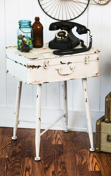 Lolita White Metal Suitcase Side Table//