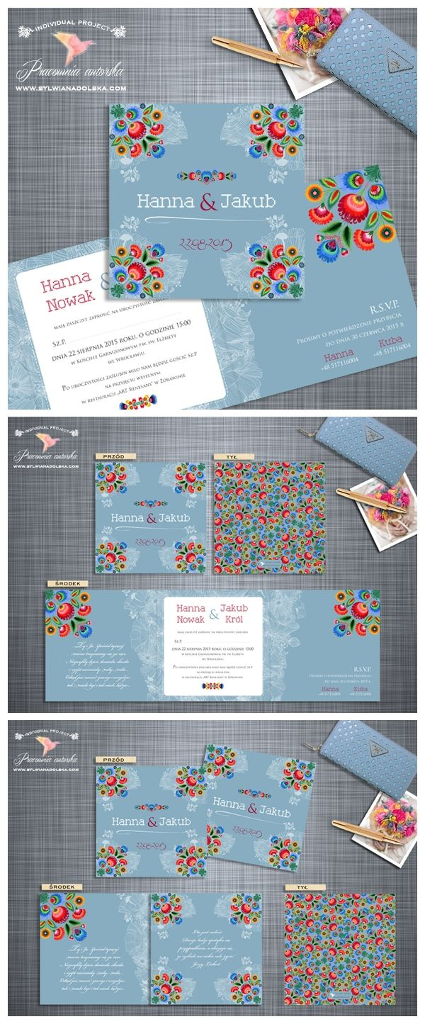 Opis: Modne zaproszenia z motywem ludowym. Drukowane na eleganckim papierze w kolorze białym. Okazałe kwadratowe zaproszenie, otwierane na prawą i lewą stronę daje możliwość zamieszczenia większej ilości tekstu Sylwia Nadolska Papeteria Ślubna http://www.sylwianadolska.com /// #sylwianadolska #zaproszeniaslubne #zaproszenianaslub #zaproszenia #slub #wesele #wedding #lawenda #słonecznik #vintage #winietki #papeteria #dodatkislubne #zaproszenia
