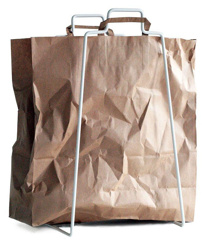 Helsinki paper bag holder in white. Design by Helena Mattila. Made in Finland.