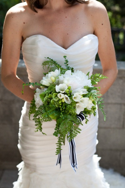 fern and green hydrangea + white peonies and lisianthus