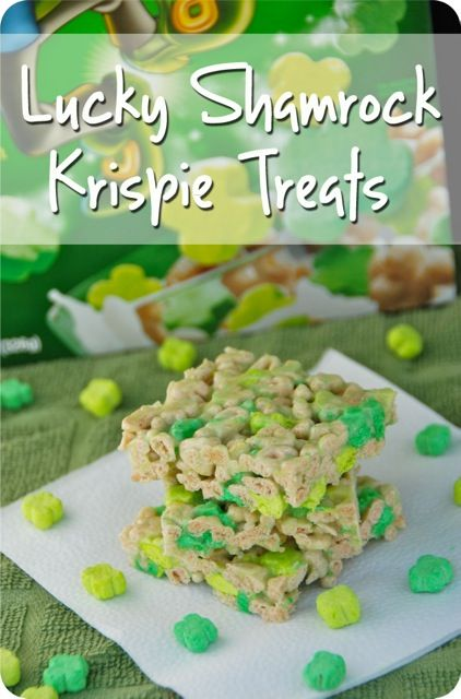 Lucky Shamrock Krispie Treats for St. Patrick's Day!! www.jessfuel.com #StPatricksDay