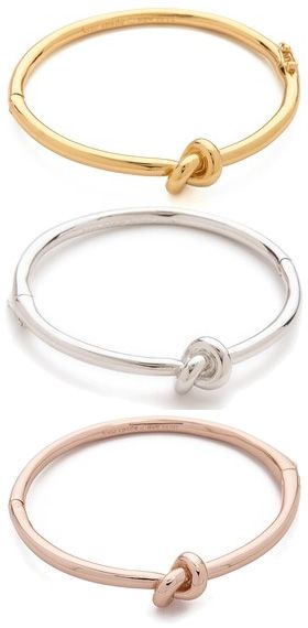 Kate Spade New York Sailor's Knot Bangle Bracelet in gold, silver and rosegold, $78 (Céline and Tiffany inspired)