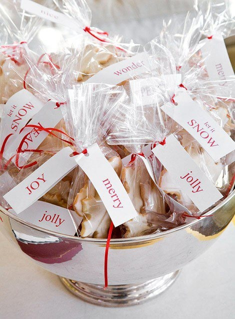 cookies wrapped christmas style for favors at a holiday party, cute!