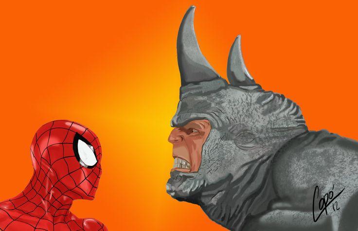 black spiderman vs rhino - photo #24