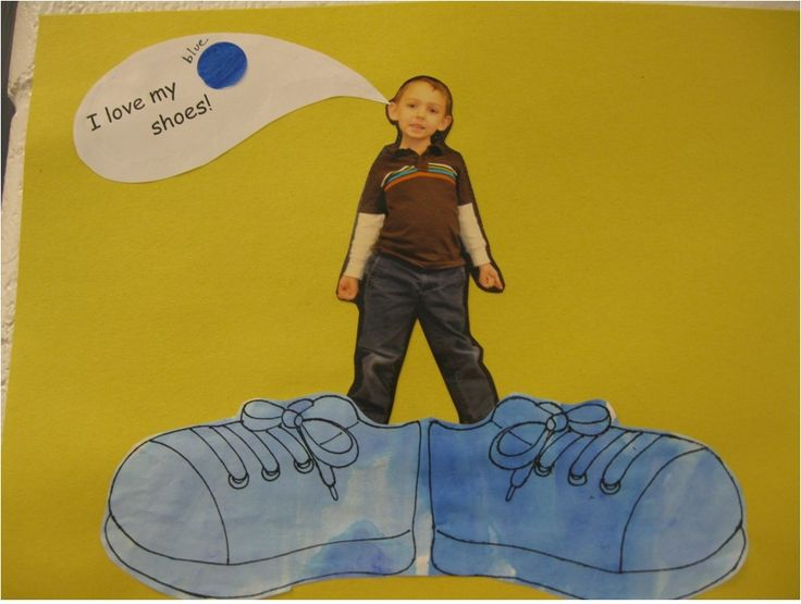 """I love my ____ shoes"" Pete the Cat writing prompt. Looks like they used watercolors on the shoes"