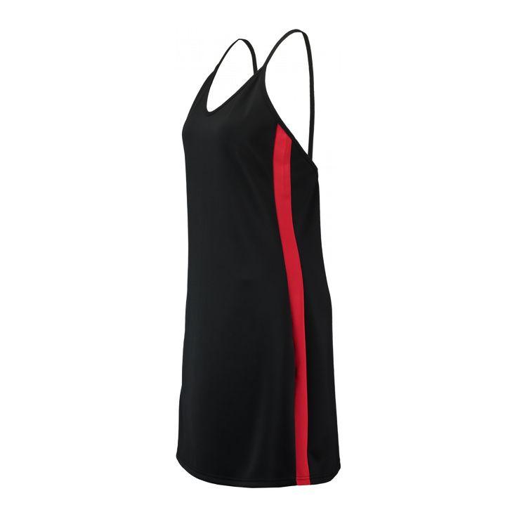 CoolCat jurk van scuba voor dames. De jurk heeft een strakke fit, V-hals en dunne verstelbare bandjes. Het jurkje is mouwloos. Het jurkje heeft een streep aan de zijkant, dit kun je op de detailfoto bekijken.