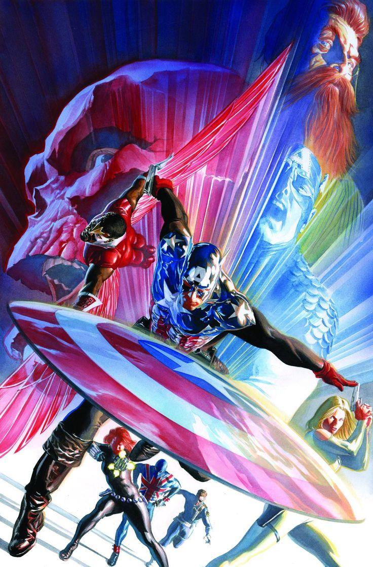 Capitão América, Falcão, Agente 13, Union Jack, Nick Fury, Viúva Negra, Caveira Vermelha e Steve Rogers por Alex Ross.