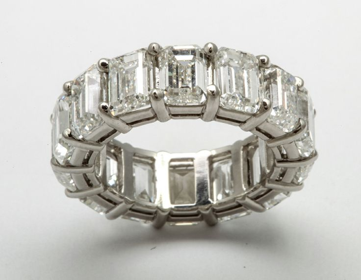 All GIA Certified Emerald Cut Wedding Band, Over 1 Carat Each | From a unique collection of vintage band rings at http://www.1stdibs.com/jewelry/rings/band-rings/
