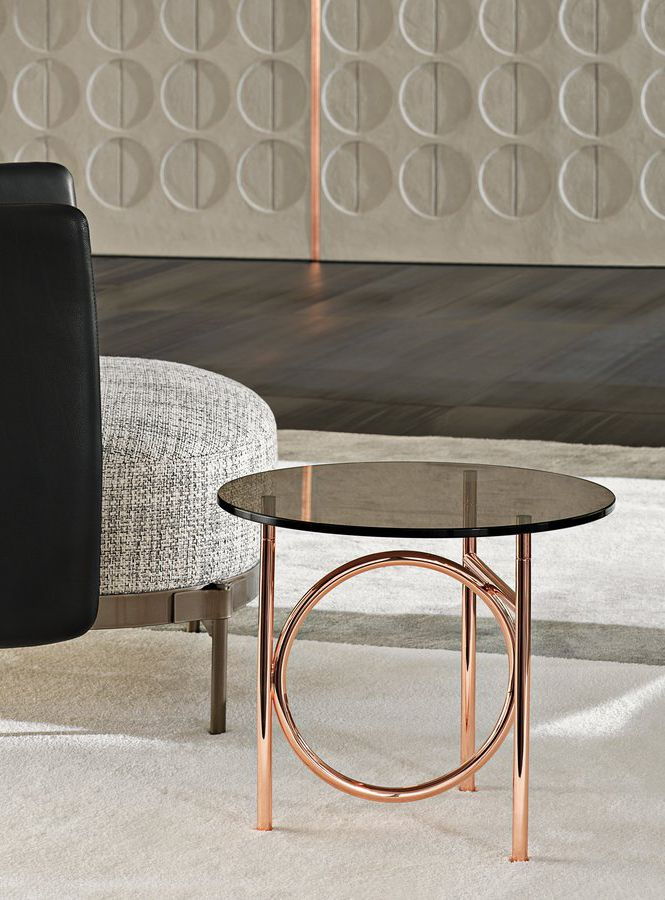 A Circular Shape In The Middle Of The Base Echoes The Circular Top And The Metal And Glass Match Is Never O Coffee Table Furniture Side Tables Table Furniture