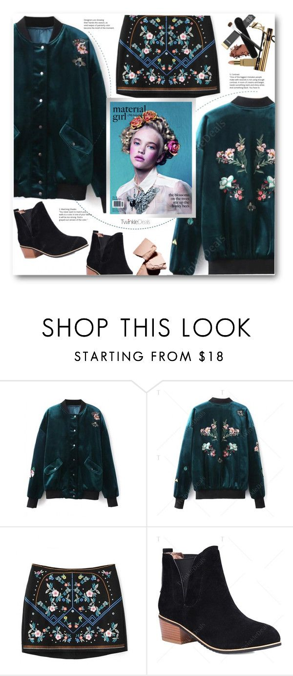 """material girl"" by meyli-meyli ❤ liked on Polyvore featuring Material Girl, flower, bomber, twinkledeals and fashion2016"