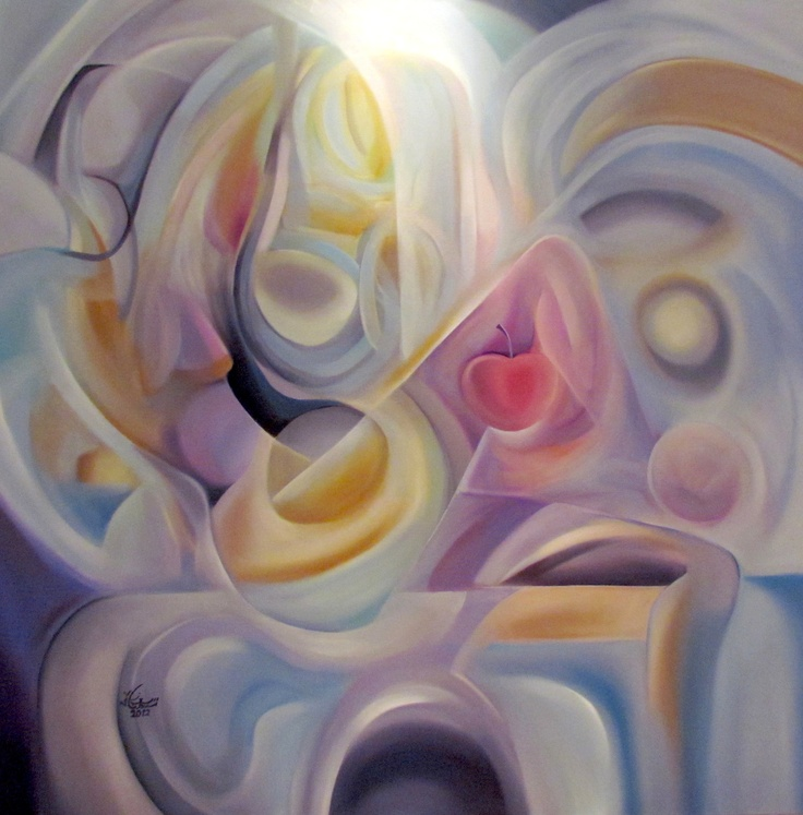 Eve apple- size 150x 150 cm- water mixable oil color on canvas-3\7\2012 by suzan bushnaq