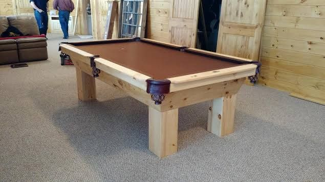 Connelly Sonora pool table, Shown in distressed natural Pine. The Sonora, and all Connelly pool table models are available in all sizes and any wood  / stain you choose at Maine Home Recreation.