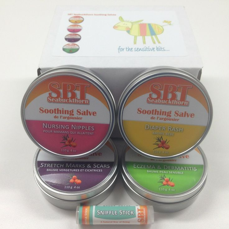 The SBT Seabuckthorn Mom & Baby Pack includes the following SBT Soothing Salves:  Nursing Nipples Soothing Salve (100% Vegan)  Diaper Rash Soothing Salve  Stretch Marks & Scars Soothing Salve  Eczema & Dermatitis Soothing Salve   In addition to our four specially formulated SBT Seabuckthorn Soothing Salves this package contains a complimentary SBT Sniffle Stick.  All SBT Soothing Salves are Gluten & Dairy free as well as Non-GMO.