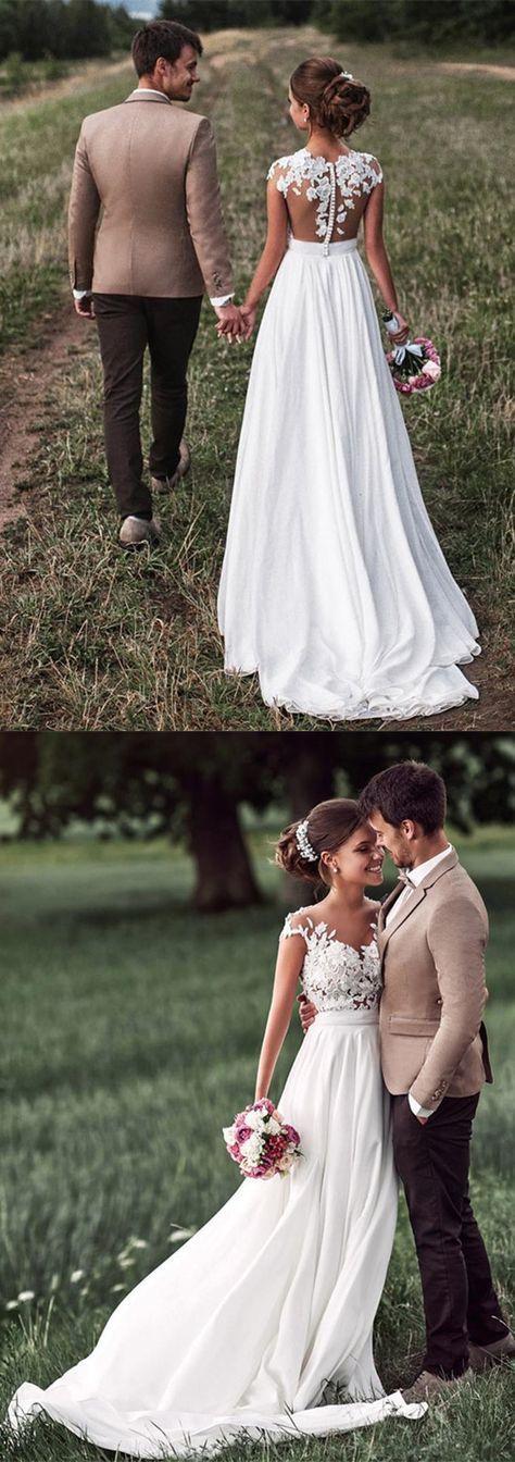 Beautiful Lace Appliques Cap Sleeves Long Chiffon Split Beach Wedding Dresses 201 …   – Kurzes kleid