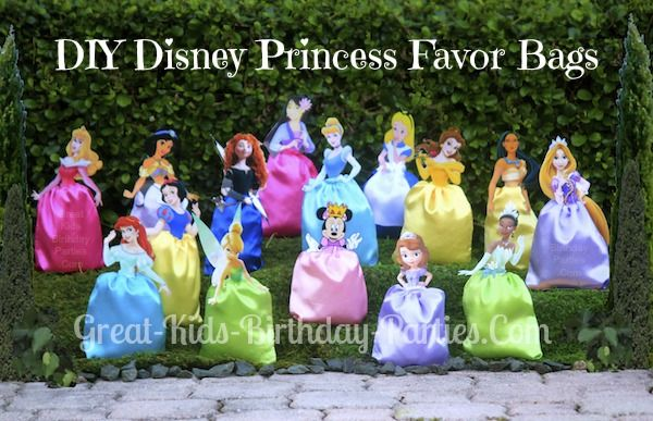 DIY Disney Princess Party Favors   Paper bags or satin bag for bottom with a cutout princess stapled to the top.