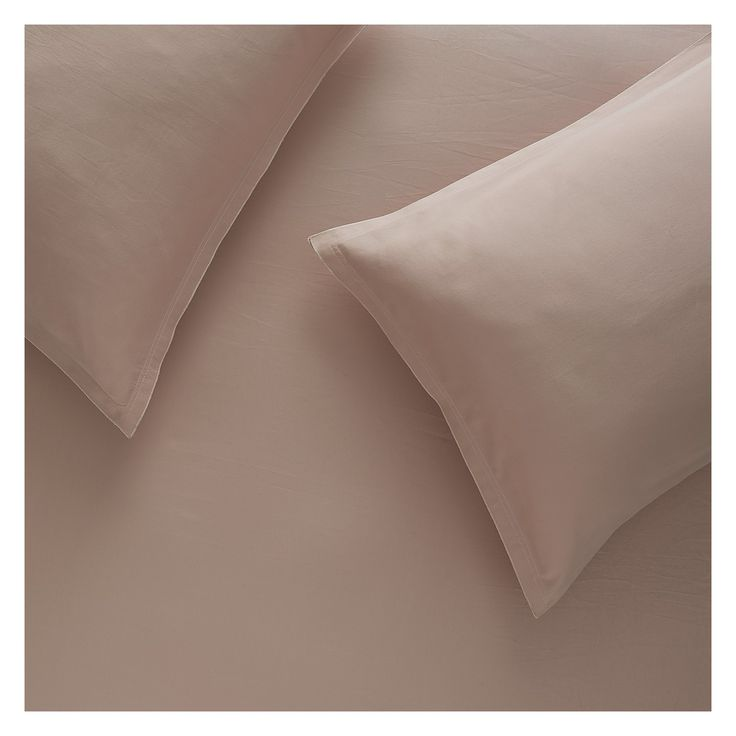 WASHED SATEEN PINK Pink sateen double duvet cover set