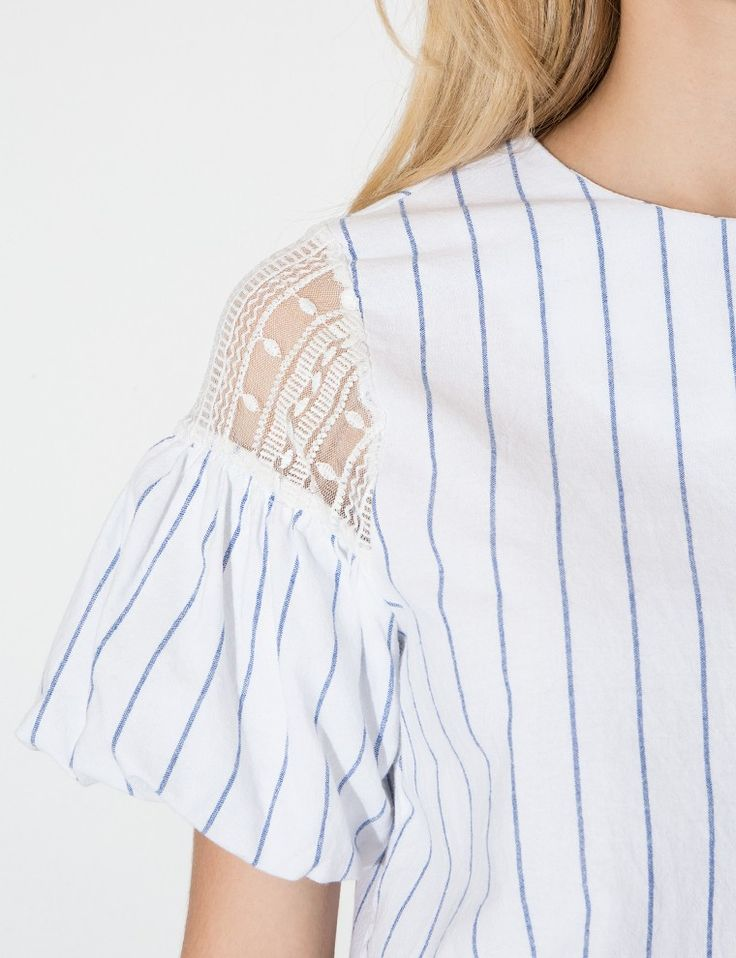 Stripe Lace Shoulder Top - Puff Sleeve Top