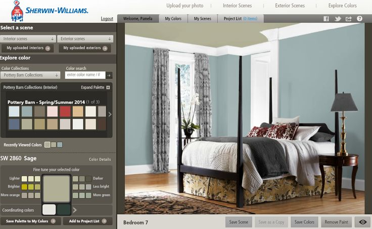 Using Sherwin Williams Color Visualizer tool to aid in choosing a paint color.