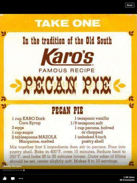 Karo's Pecan Pie