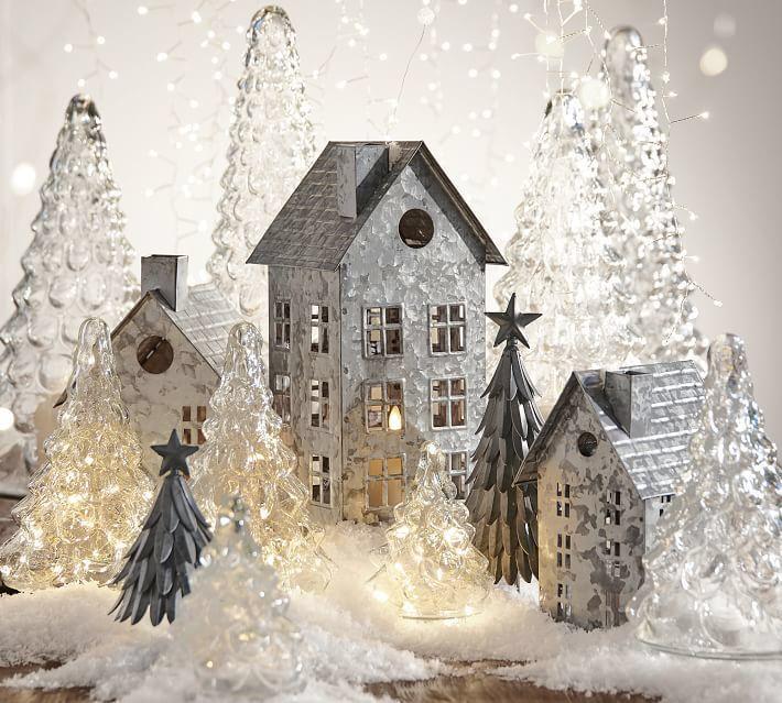 Pretty Pretty Galvanized Christmas Village Houses Really