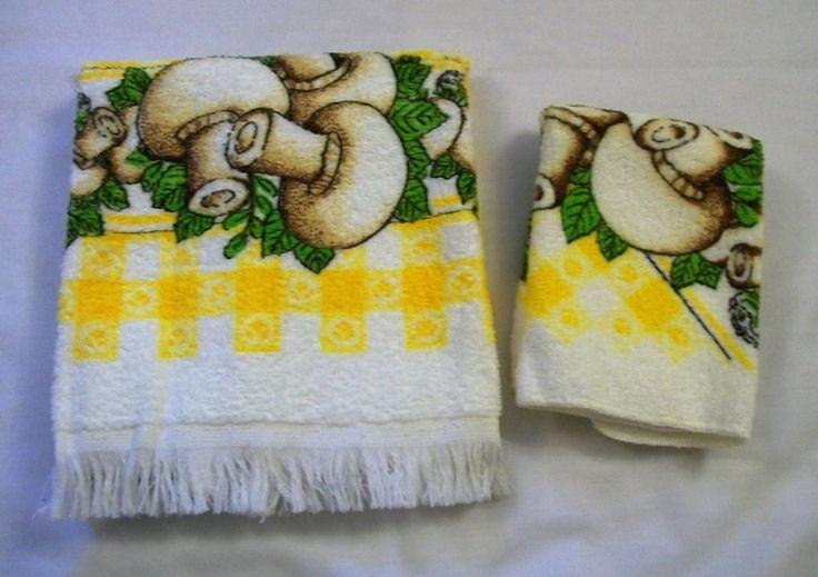 Vintage Towel, Cannon Towel, Yellow Towel, Kitchen Towel, Hand Towels, Cannon towels, 1970s, Vintage Kitchen, Mushrooms, Mushroom towel by VintagePlusCrafts on Etsy