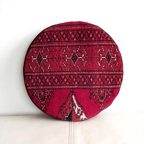 Circle Oriental Throw Pillow, Pomegranate Mini Pouf, Round Pouf Ottoman, Circle Round Sofa-cushion, Bohemian Living, Home Decor, 34x34 cm