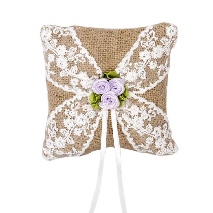 Cuscino Portafede In Lino Pizzo Ricamato Fiore Decorazione Matrimonio 10cm