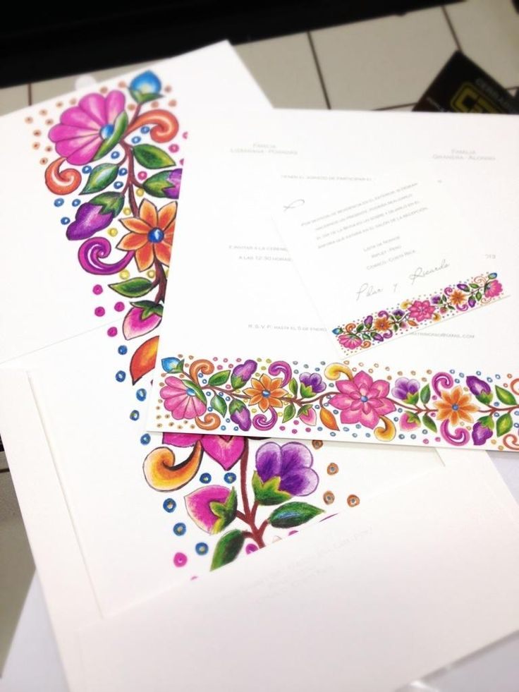 Peruvian wedding stationery with floral motifs from the Andes.
