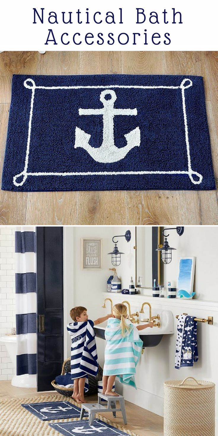 Nautical And Navy Stripe Bath Accessories For The Kids Bathroom