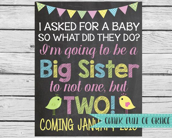 Twins Pregnancy Announcement Sibling by ChalkFullOfGrace on Etsy