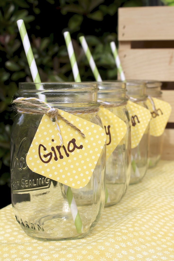 Cute for Bunco night! Mason jars with tags.. maybe provide a marker and they can just write their own name