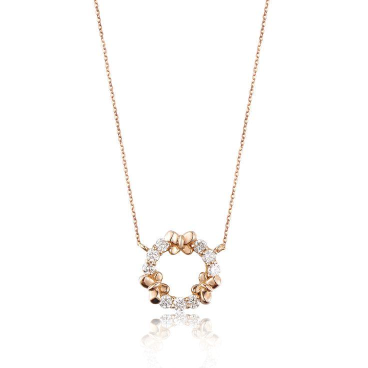 Diamond Butterfly Circle Pendant 18KR