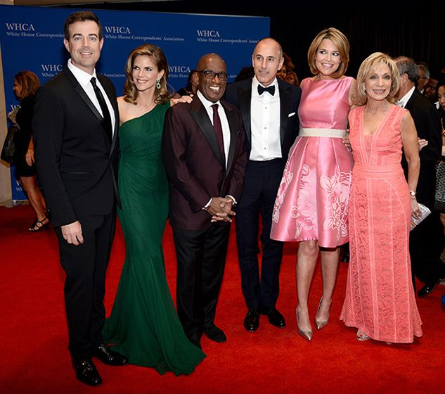 Today Show Cast 2014 WHCD Carson Daly, Natalie Morales, Al Roker, Matt Lauer, and Savannah Gutherie posed together at the event