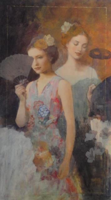 Francois Fressinier, Notturno mixed media oil painting