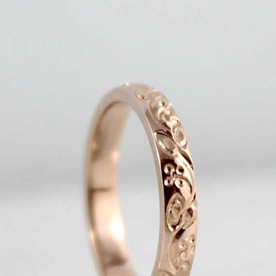 14 K or Rose Wedding Band - Design Band - anneau d'empilage - modèle demi-jonc - demi-jonc or rose